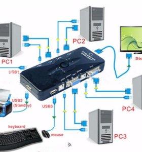 Kvm switch свитч переходник разветвитель для ПК