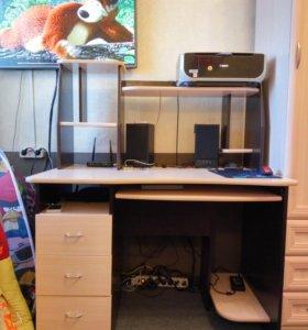 Компьютерный стол венге/молочный дуб