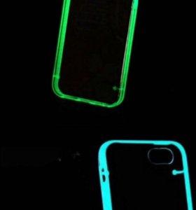 Защитное стекло на айфон 6,6s чехол светящийся