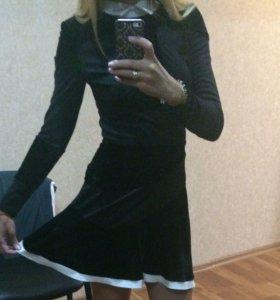 Новое платье вставки велюр