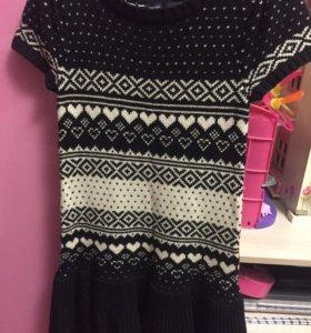 вязаное платье на 8-9 лет