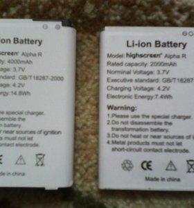 Две батареи и две панели на Highscreen Alpha R