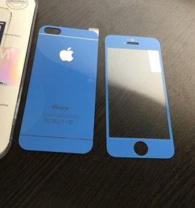 Красивое синие защитное стекло для iPhone 5/5s/5se