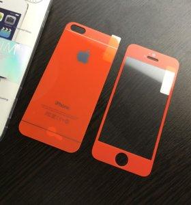 Оранжевое Стекло для iPhone 5/5s/5se