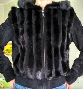 Оригинальная куртка замшевая с норкой
