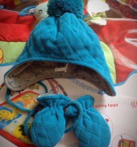 Комплект шапочка с варежками
