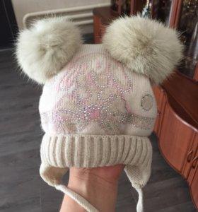 Зимняя шапка от 0-9 мес мех натуральный