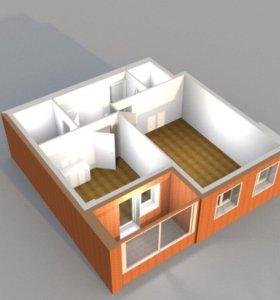 Двухкомнатная квартира 53.3м.кв