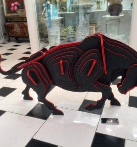 3D пазл бык из фанеры 12мм размеры 1500х700х350мм
