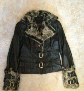Куртка из натуральной кожи и меха чернобурки)