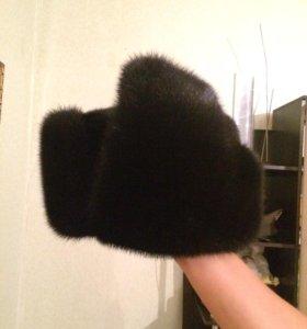 Шапка ушанка черная норка 55-58размер