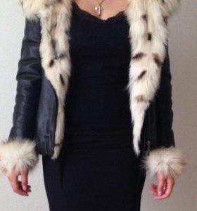 Кожаная зимняя куртка с лисьим мехом