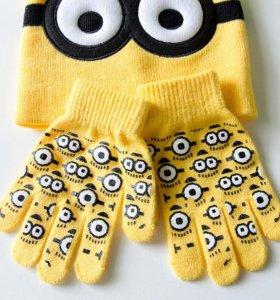"""Шапка и перчатки """"Миньоны"""""""