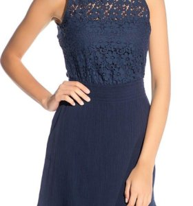 Кружевное синее платье oodji