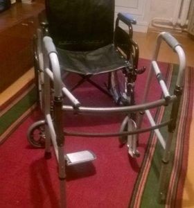 Инвалидная коляска и ходунки
