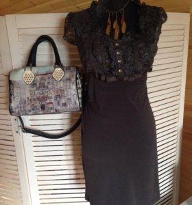 Платье трикотаж с кружевом р42