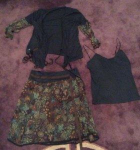 Костюм тройка р. 50-52 юбка майка и кофта