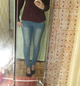 Рубашка H&M винно-бордового цвета