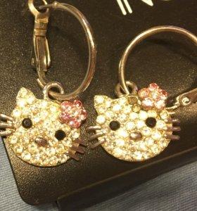 Hello Kitty бижутерия серьги Хэлло Китти