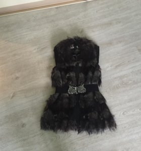 Меховая жилетка чернобурка + сумка