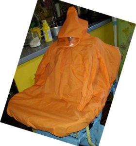 Дождевик-ветровка на коляску с капюшоном и рукавам