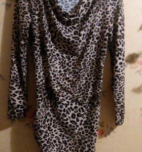 Леопардовое платье-туника