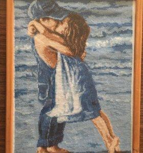 Картина вышитая крестиком, ручная работа.