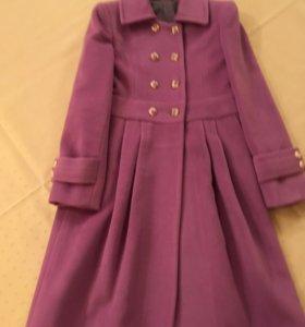 Пальто шерстяное нежно-сиреневое для девочки