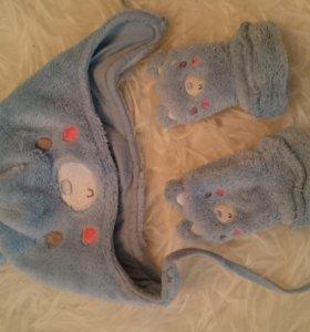 Шапочка и рукавички mothercare