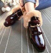 Ботинки лаковые красные на меху