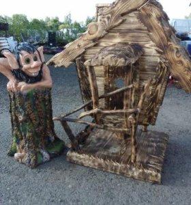 Декоративная избушка Бабы-Яги для дачи и сада
