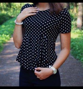 Трикотажная футболка-блуза
