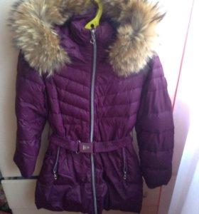 Зимнее пуховое пальто для девочки на 10 лет