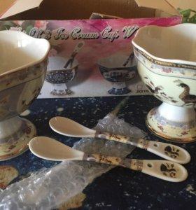 2 керамические вазочки для мороженого с ложечками