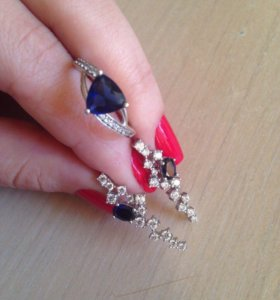 Серьги и кольцо новые !!! серебро