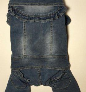 Теплый джинсовый комбинезон, р. XL
