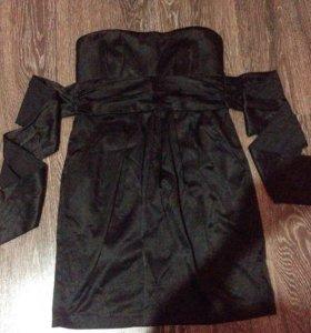 Чёрное Атласное Платье