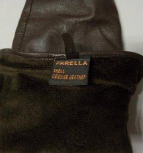 Перчатки женские зимние коричневые кожаные