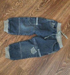Утеплённые джинсы 1-2 года