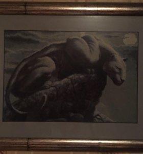 """Вышитая картина """"Пантера на горе при Луне"""""""