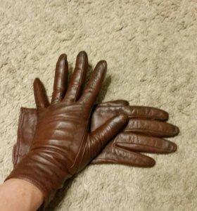 Р.6,5 Кожаные перчатки коричневые утепленные