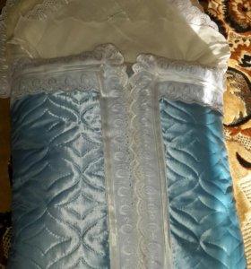 Конверт теплый + одеяло осень-зима.