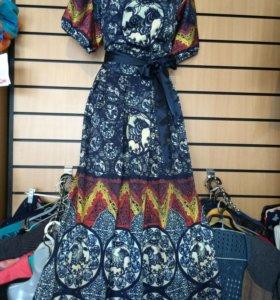 Новое шелковое платье в пол.