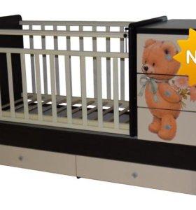 Новая кроватка-трансформер Ульяна-2 с мишкой.