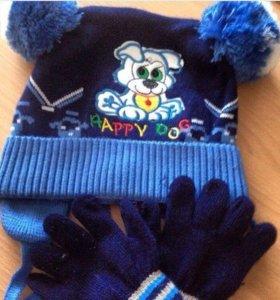 Шапка и перчатки НОВЫЕ