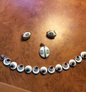 Серьги, кулон и браслет (серебро)
