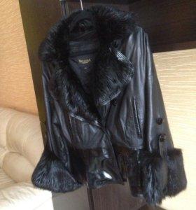 Кожаная  куртка ( мех бобер )