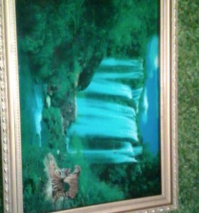 Картина&водопад с пением птиц со звуком