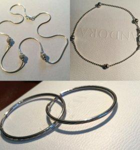 Комплект из серебра 925: колье,браслет,серьги