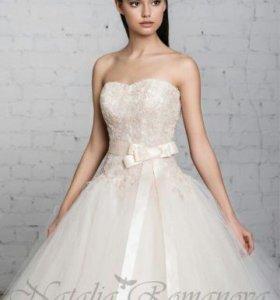 СРОЧНО ДЕШЕВО Пудровое  свадебное платье